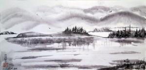 «Крепость Пор-Бажын», тушь, бумага, 83х51, 2009 г.