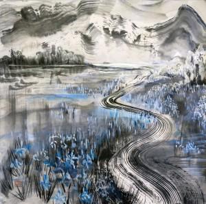 «Дорога», тушь, минеральные и перламутровые краски, 67,5х64, 2011 г.