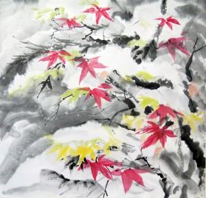 «Клены в снегу», тушь, минеральные краски, 61х72, 2012 г.