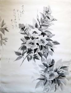 «Созанка цветет по утру той дорогой, где изгородь». Каллиграфия Ямада Мидори, тушь, шелк, 60х44, 2013 г.