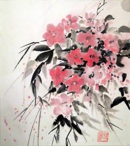 «Ветка сакуры», тушь, минеральные краски, 30х40, 2012 г.