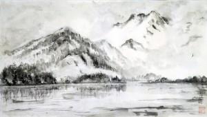 «На озере Терехоль, Тува», тушь, бумага,  80х54, 2008 г.