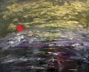 «Закат», стекло, краски, 60х50, 2014 г.