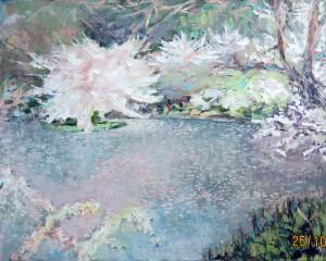 «Цветущая сакура», холст, масло, 100х80, 2014 г.